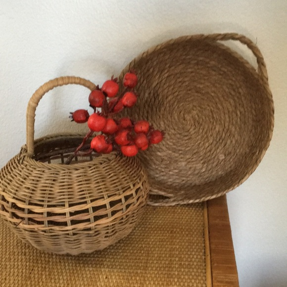 2 vintage hand made beautiful baskets.